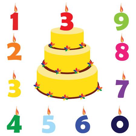 gateau anniversaire: Gâteau d'anniversaire avec des numéros de bougies d'anniversaire un, deux, trois, quatre, cinq, six, sept, huit, neuf, zéro, vecteur ensemble Illustration