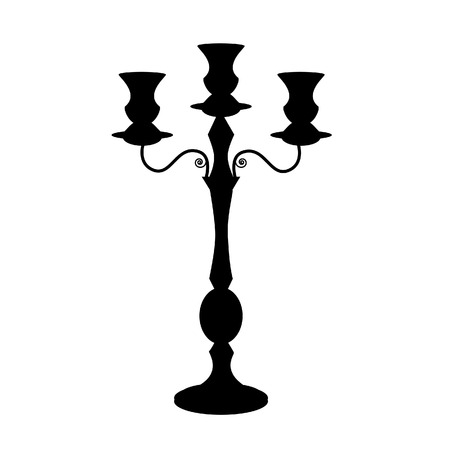 candle holder: Vintage, retro candle holder, black candlestick vector isolated on white