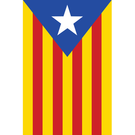 catalonia: Catalonia flag vector isolated. Red, yellow and blue with white star. Autonomy. Spain.