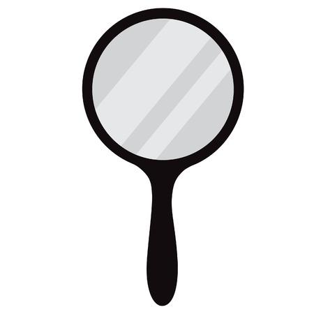 Round, black hand mirror vector isolated. Hand mirror icon