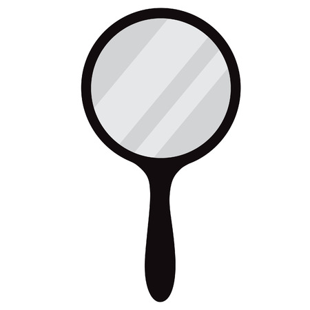 Round, black hand mirror vector isolated. Hand mirror icon