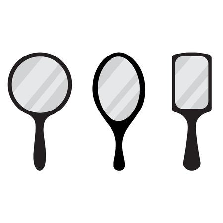 hand mirror: Set of three black hand mirror vector icon. Round, rectangular, ellipse hand mirrors Illustration