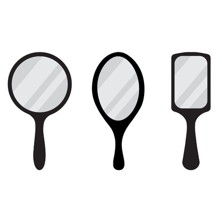 Set of three black hand mirror vector icon. Round, rectangular, ellipse hand mirrors Illustration