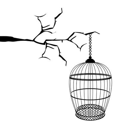 birdcage: Black birdcage hanging on tree branch. Birdcage silhouette. Vintage birdcage Illustration