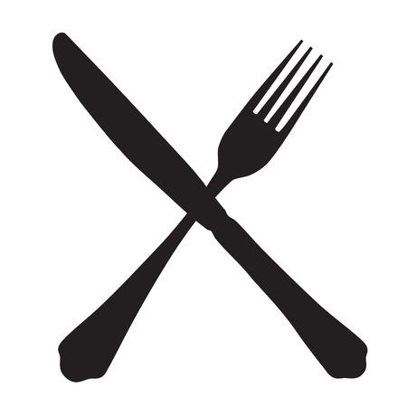 cuchillo de cocina: Negro silueta de tenedor y cuchillo icono cruzado vectorial aislado.