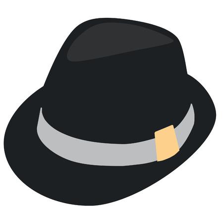 hombre con sombrero: Negro elegante sombrero de hombre. Sombrero de Derby. Sombrero de Fedora. Sombrero Trilby Vectores