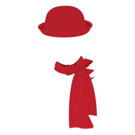 woman scarf: Red woman bowler hat with scarf. Derby hat. Fashion, glamour winter hat