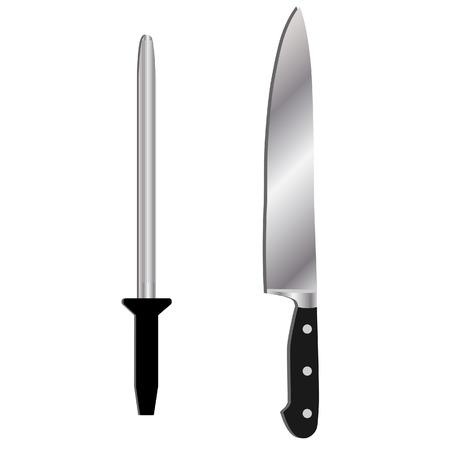 kitchen knife: Kitchen knife with black handle and sharpener vector set. Kitchen utensils.