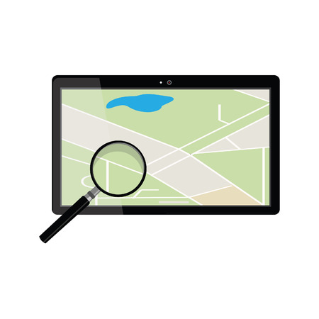 gps navigator: Tablet with gps navigaton and magnifying glass. Gps device. Navigation map. Gps navigator Illustration