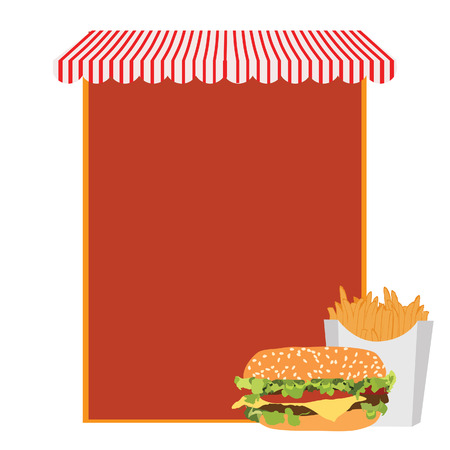 marquise: Fast food menu with cheeseburger and french fries. Menu with store awning. Menu design. Food menu Illustration