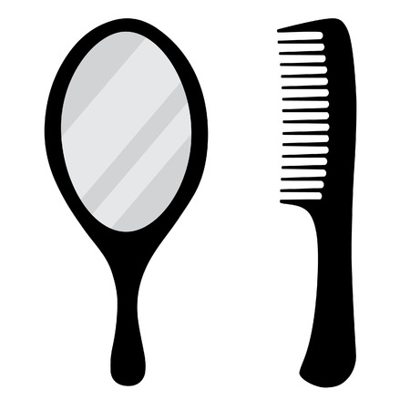 plastic comb: Black, small, hand mirror vector icon set. Barber comb.