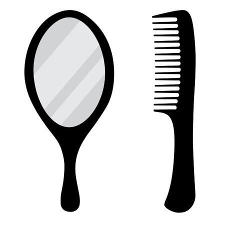Black, small, hand mirror vector icon set. Barber comb.