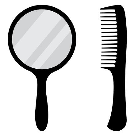 hand mirror: Black, small, hand mirror vector icon set. Barber comb.