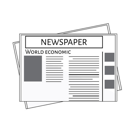 magazine stack: Newspaper icon vector. Blank newspaper. World economic