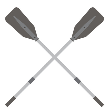 water sport: Two grey, plastic, crossed oars vector isolated. Rowing oars. Plastic oars. Water sport