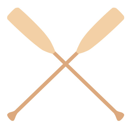 water sport: Two wooden crossed oars vector isolated. Rowing oars. Boat oar. Water sport