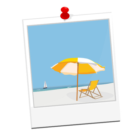 sand beach: Polaroid photo with beach illustration blue sky, sea, sand, beach umbrella, beach chair and sail boat Illustration