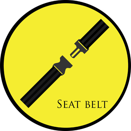 ilustrations: Round, yellow sign with seat belt vector isolated. Safety belt symbol, security belt sign.