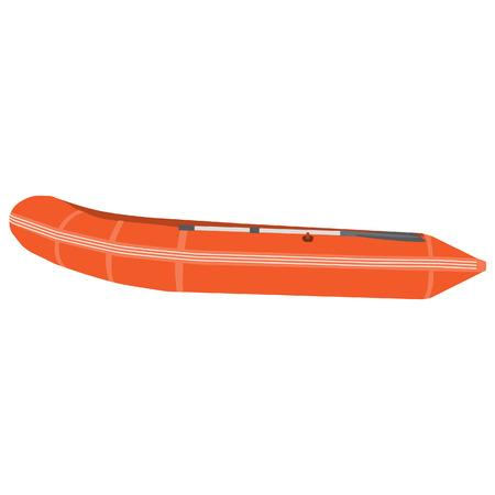 lifeboat: Orange rubber boat vector isolated. Inflatable boat. Lifesaving boat