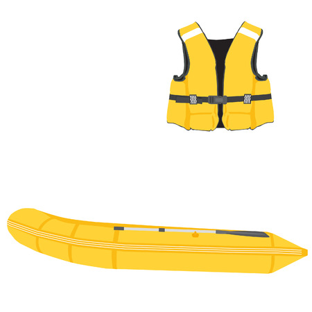 Yellow life vest and inflatable boat with oar vector set. Rubber boat, life jacket