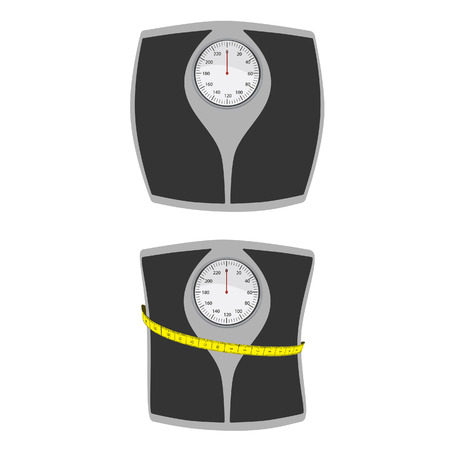 weighing scale: Floor scales with measuring tape and bathroom scales vector icon set. Weight scale, weghting scales, weight loss Illustration