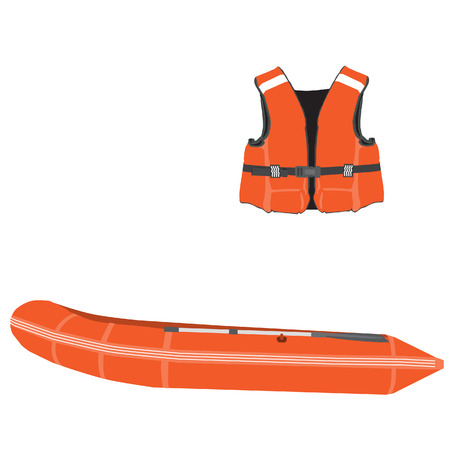 inflatable boat: Orange life vest and inflatable boat with oar vector set. Rubber boat, life jacket