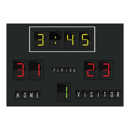 football teams: Black digital scoreboard with time, home and visitor score, round vector. Basketball scoreboard, football scoreboard, soccer scoreboard Illustration