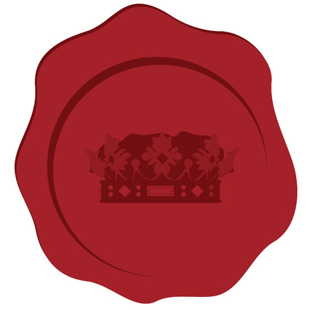 wax stamp: Red wax stamp with royal crown, seal stamp, candle stamp. Vector icon