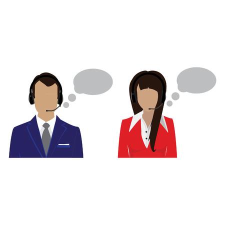 call center female: Vector icon operators in headset. Call center female and male avatar. Woman and  support phone operators.