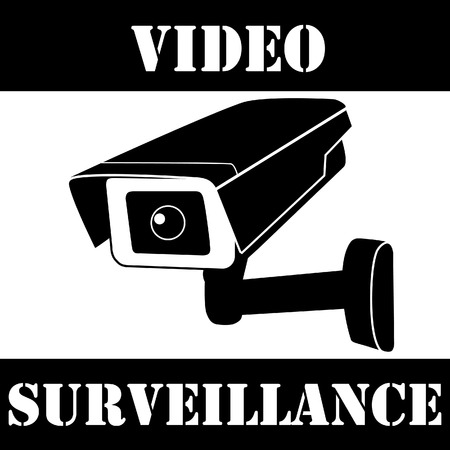 cctv security: Warning sticker with surveillance camera vector icon. Surveillance monitors. Camera cctv, Security camera
