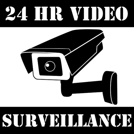 cctv security: Warning sticker with surveillance camera vector icon and text 24h video surveillance. Surveillance monitors. Camera cctv, Security camera