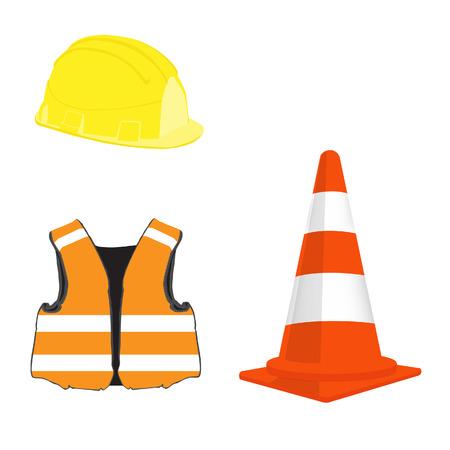 se�ales de seguridad: Edificio conjunto con cono de tr�fico de naranja, casco amarillo y naranja vector chaleco de seguridad Vectores