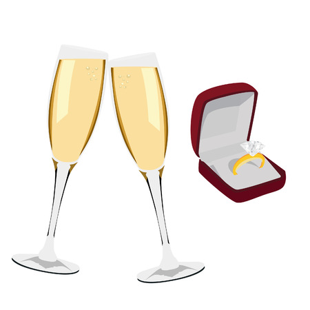champagne glasses: Two champagne glasses and red opened jewelry box with golden diamond ring vector illustration. Champagne toast. Engagement ring