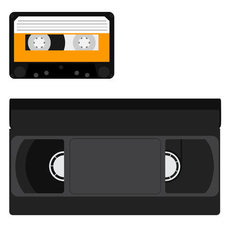 video cassette tape: Vector set with black video tape and cassette tape