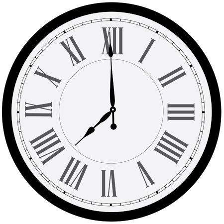 orologi antichi: Orologio da parete nero vettore isolato. Orologio sulla parete mostra otto in punto. Romano numerale orologio Vettoriali