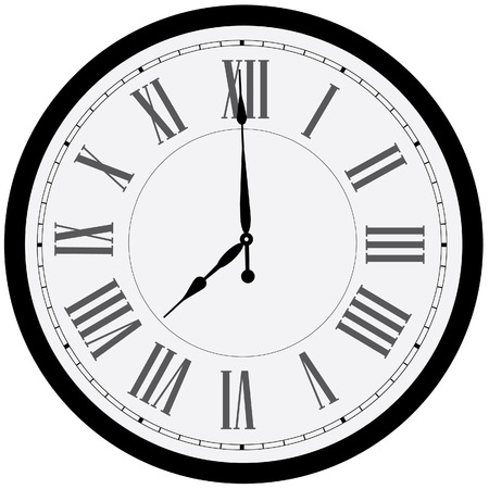 Black wall clock vector isolated. Clock on wall shows eight oclock. Roman numeral clock Illustration