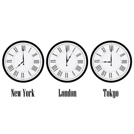 romeinse cijfers: Wereld tijd klokken New York, Londen en Tokio. Klok op de muur met Romeinse cijfers vector geïsoleerde