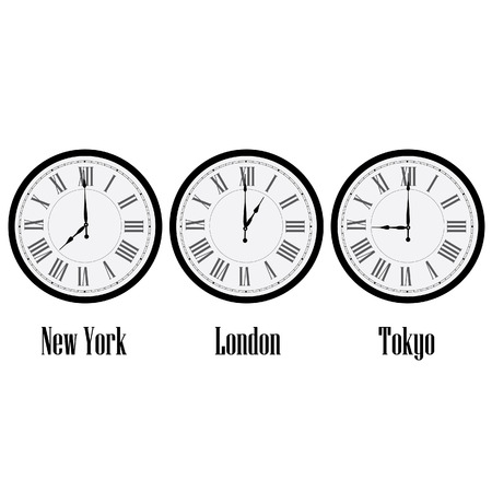 roman numerals: World time clocks New York, London and Tokyo. Clock on wall with roman numerals vector isolated Illustration