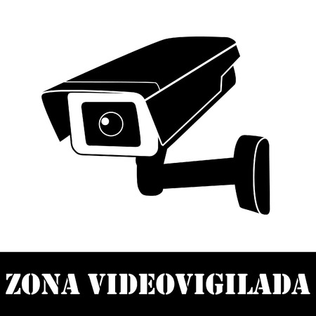 security camera: Surveillance camera with text in spanish video surveillance vector icon. Surveillance monitors. Camera cctv, security camera Illustration