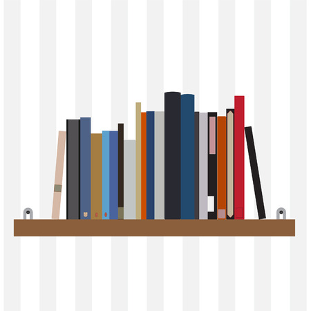 magazine stack: Book shelf vector isolated with bibliography, encyclopedia and handbooks. Literature bookstore