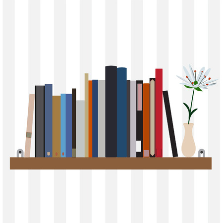 handbooks: Book shelf vector isolated with bibliography, encyclopedia and handbooks. Vase with white flower. Literature bookstore