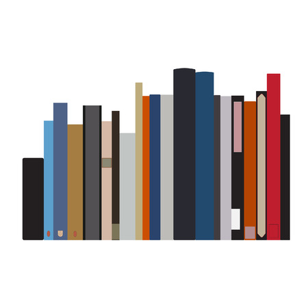 handbooks: Book shelf vector isolated with bibliography, encyclopedia and handbooks. Literature bookstore