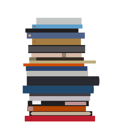 school books: Pile of books vector isolated. Stack of books. Book spine. Literature