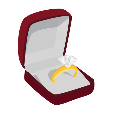 gold ring: Golden ring with diamond in jewelry box vector isolated. Jewellery box. Opened ring box Illustration