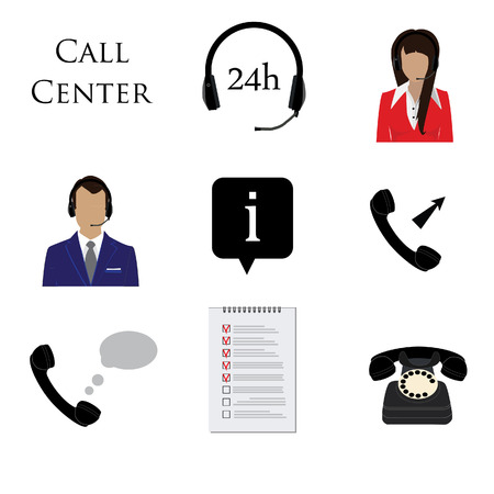 contact center: Call center icon set. Information, contact us, 24 hrs, telephone, woman and man support avatar, list pictogram