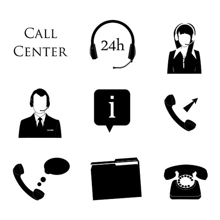 contact center: Call center icon set. Information, contact us, 24 hrs, telephone, woman and man support avatar.