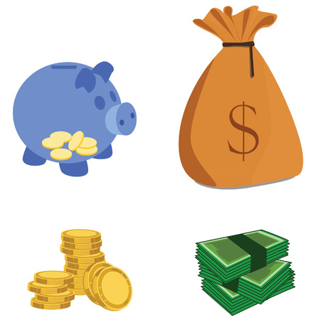 investment concept: Capital icons vector illustration with coins, piggy bank , money sack and cash. Capital money, capital investment, investment concept