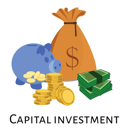 investment concept: Vector illustration of capital investment. Investment concept, stock market, capital icons, capital money