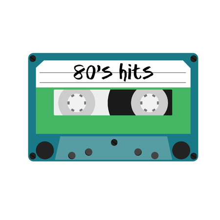 hits: Blue cassette tape with text 80s hits vector isolated. Vintage cassette