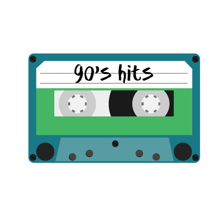 hits: Blue cassette tape with text 90s hits vector isolated. Vintage cassette